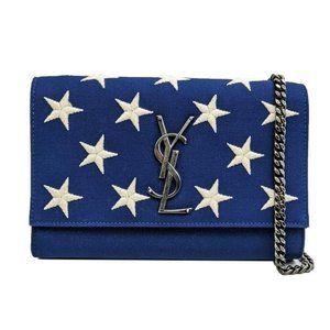 Saint Laurent Blue Small Star Kate Crossbody Bag